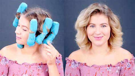 husband forced to sleep in hair rollers testing sleep styler heatless curlers on short hair