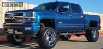 Lifted Truck Chrome Wheels Wheel Offset 2015 Chevrolet Silverado 1500
