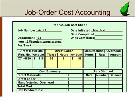 order cost card template chapter 2 systems design order costing