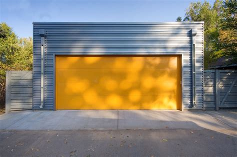Garage Door Yellow Light Galvalume Metal Siding Everyone Denver Modern
