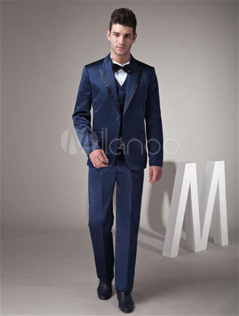 Catwalk To Carpet 7th On Sale Black Tie Gala Dinner by Fantastic Blue Satin Groom Wedding Tuxedo Milanoo