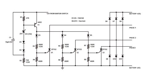 motorcycle shunt regulator circuit using scr