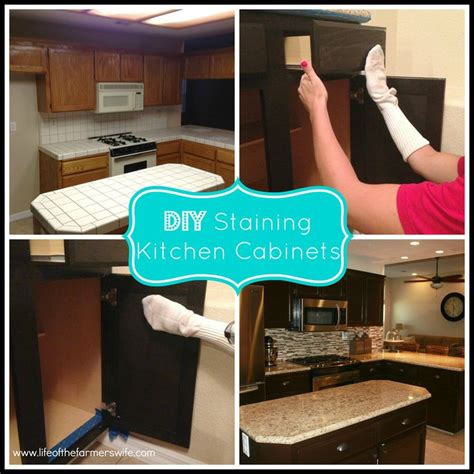 Diy Staining Kitchen Cabinets Updated Diy Staining Kitchen Cabinets Things For The Home Pinte