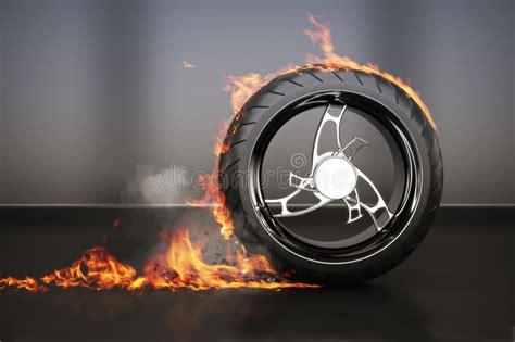 tire burnout  flames smoke  debrisconcept stock images image