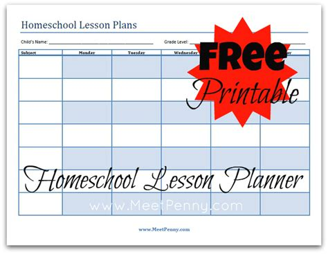 Free Printable Homeschool Lesson Plan Template | blueprints organizing your homeschool lesson plans meet