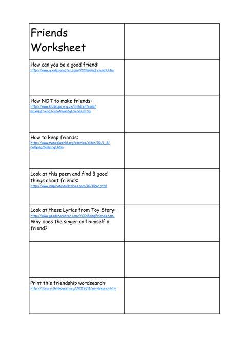 13 best images of friendship printable worksheets for