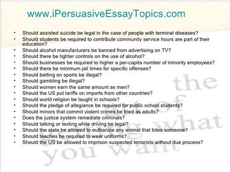 50 Argument Essay Topics by 50 Persuasive Essay Topics