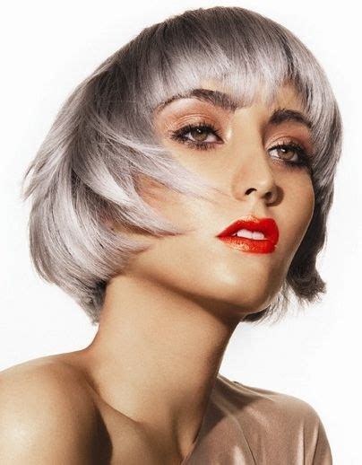Silver Hair Jaw Length | chin length glossy gray bob with heavy bangs beautiful