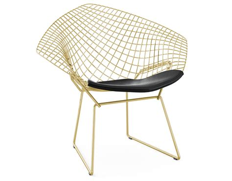 Bertoia Chair by Bertoia Gold Plated Small Chair With Seat Cushion