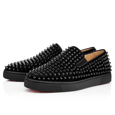 mens louboutins sneakers roller boat s flat black black bk suede shoes