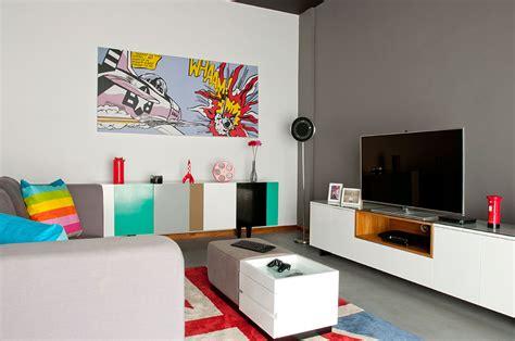 desain interior rumah pop art desain interior ruang keluarga penggemar pop art