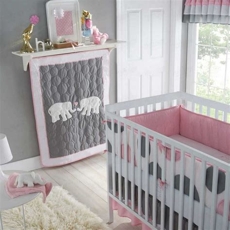 Pink Gray Crib Bedding Baby Crib Bedding Infant S Nursery 5 Set Polka Dot Pattern Pink Grey Ebay