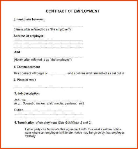 Employee Contract Agreement Format India Example Good Resume Template