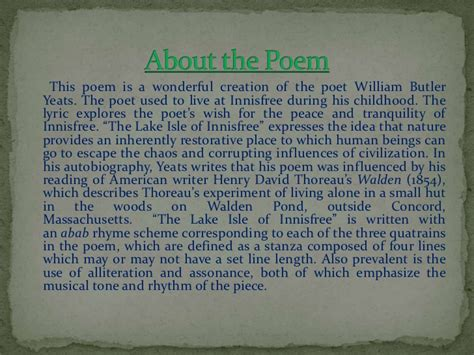 wb yeats sle essay the lake isle of innisfree