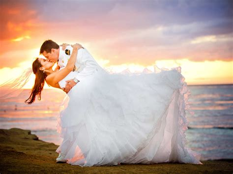 married loving couple bridal  uniform young woman