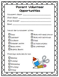 1000 ideas about parent volunteer form on