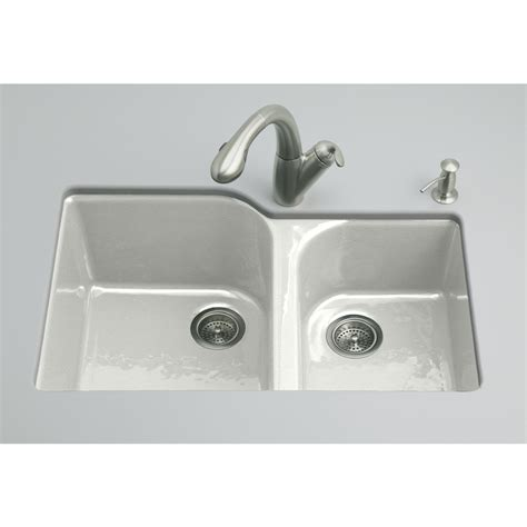 Shop Kohler Executive Chef Sea Salt Double Basin Cast Iron Kitchen Sinks