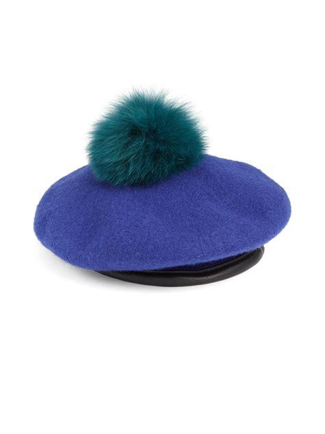 pomeranian fur types eugenia fox fur pom pom wool beret in blue lyst