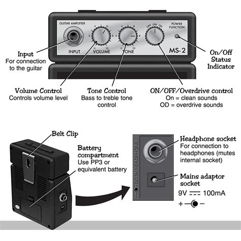 Marshall Ms 2 Portable Micro Lifier marshall ms 2 black portable micro lifier speaker for guitar instrument