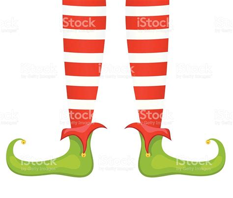 printable elf legs santas elf feet and legs in red green stock vector art