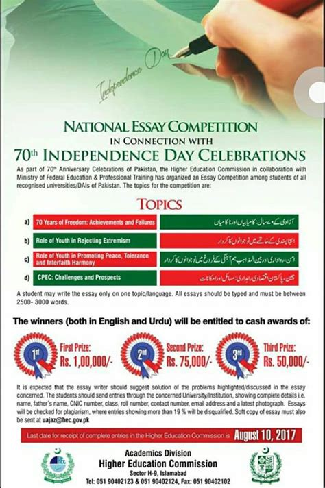 Essay Competition 2014 Pakistan by Hec National Essay Competition 2018 Eligibility Prize Information