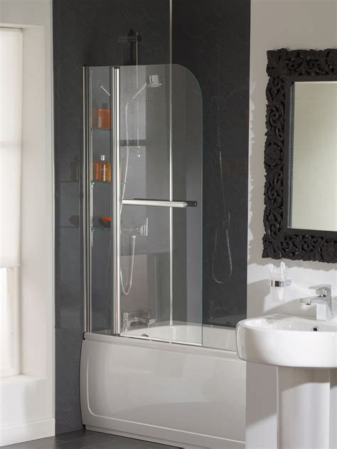 bathroom and bath essential cascade bath screen with rail and glass shelves eb304