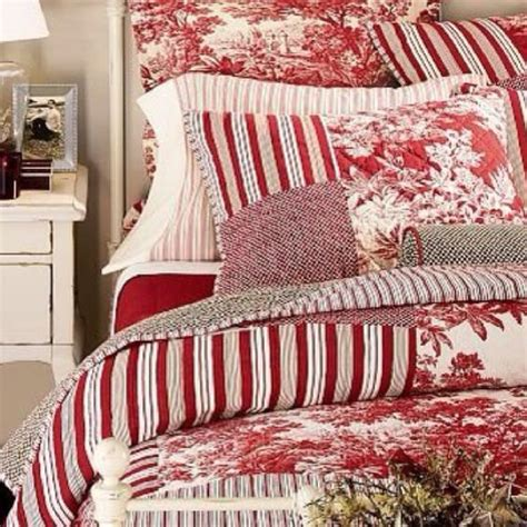 red toile bedding country christmas bedroom perfect bedrooms pinterest