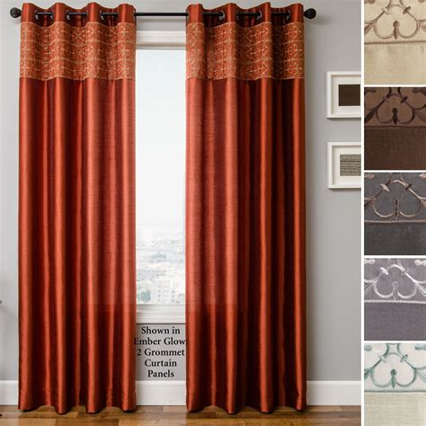 Gate Faux Silk Grommet Curtain Panels