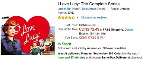 amazon canada amazon canada deals of the day save 71 on i love lucy