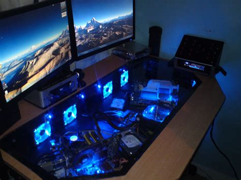 Built In Pc Desk by See Through Desktop Pc And Gaming Desk Science And Technology