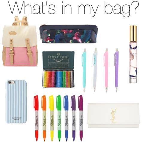 what s in my school bag polyvore