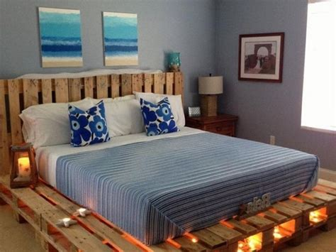 bed with pallets wooden pallet bed with lights pallet wood projects