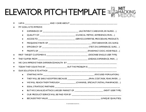 elevator pitch template mit hackingmedicine healthcare redesign toolset and