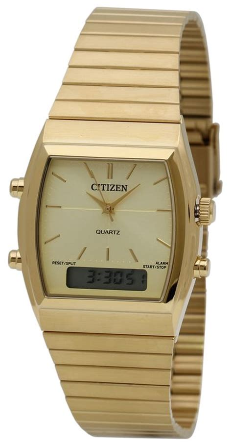citizen jm0542 56p digital analog gold tone mens
