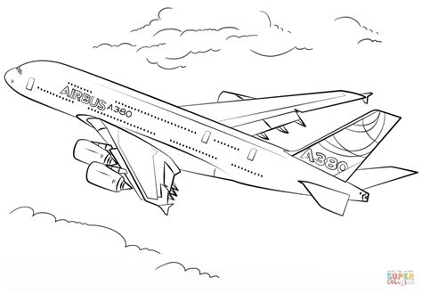 A380 Coloring Pages airbus a380 coloring page free printable coloring pages