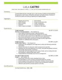 Exle Resume For Sales Associate by Big Freight Associate Exle Emphasis 2 Design