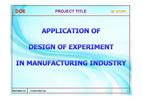 design of experiment manual application of design of experiments doe using dr
