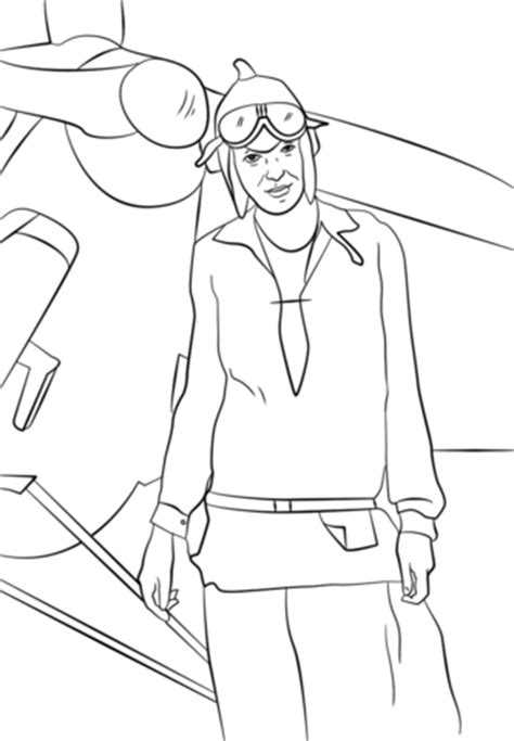 amelia earhart coloring page free printable coloring pages