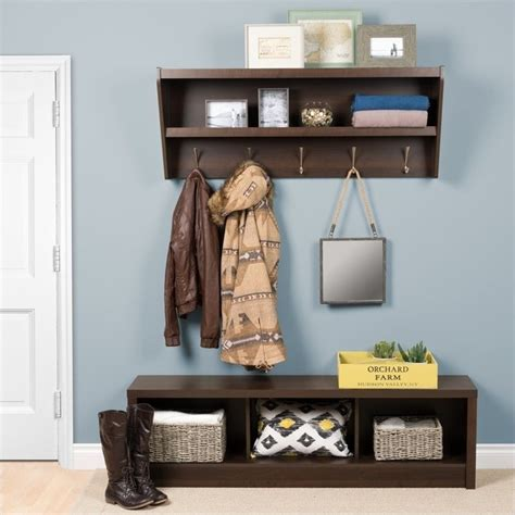 prepac floating entryway shelf w bench espresso hall tree