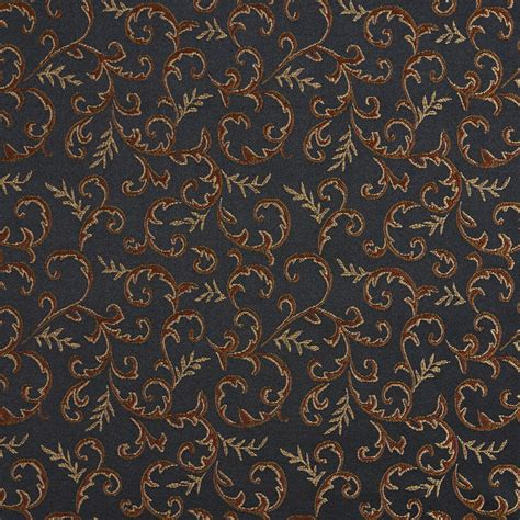 black drapery fabric e644 floral black gold green orange damask upholstery