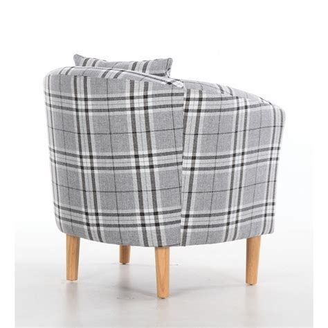 Grey Tartan Armchair Fabric Tub Chairs Deluxe Tartan Fabric Tub Chair Armchair