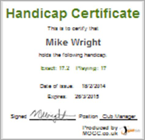 golf handicap certificate template golf handicap my golf club