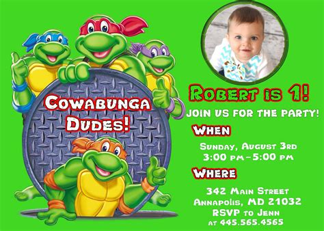 printable ninja turtle birthday party invitations  invitation templates drevio