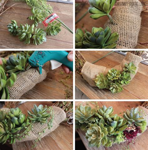 succulents look weak and facing down rustic succulent grapevine wreath sohosonnet creative living