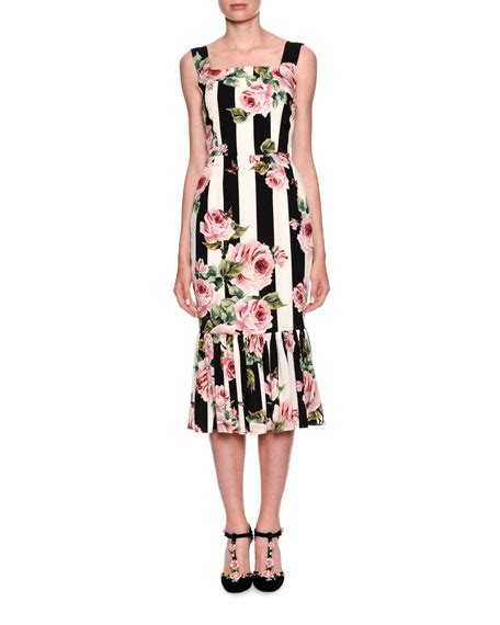 Striped Sleeveless Midi Dress dolce gabbana sleeveless floral striped midi dress