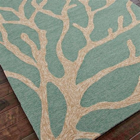 Teal Outdoor Rug Tree Coral Hooked Outdoor Rug Teal Blue Or Smoky Brown Outdoor Rugs By Shades Of Light