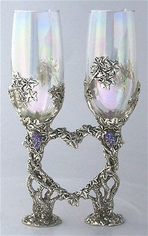 crystal vine heart toasting glasses set wedding collectibles
