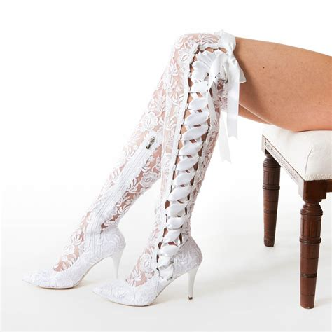 white wedding boots the knee white lace wedding boots house of elliot