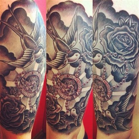 rose tr st tattoos half sleeve of st christopher roses and swallows done