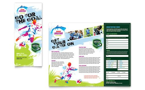 youth soccer tri fold brochure template design